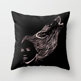 Wolfgirl  Throw Pillow