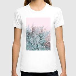 Duotone Fern Jungle on Soft Pink T-shirt