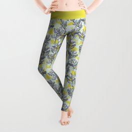 Leaf and Berry Sketch Pattern in Mustard and Ash Leggings