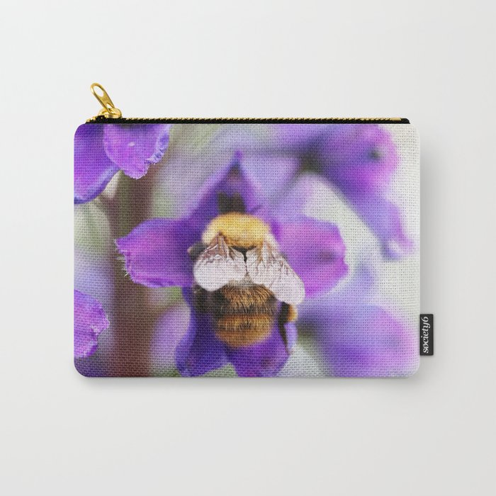 Bumble-bee and larkspur Carry-All Pouch