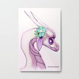 Dragon and Flowers II - Pink Edition - Blush Pastel Fantasy Illustration Metal Print