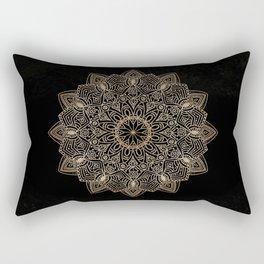 Beautiful hand drawn gold mandala on black Rectangular Pillow