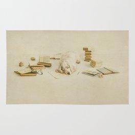 Felinology - Fine art dog photography where a cockerspaniel is tired of stydying and reading books Rug