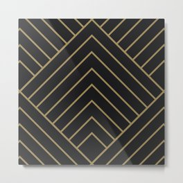 Diamond Series Pyramid Gold on Charcoal Metal Print