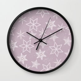 Snowflakes on pink background Wall Clock