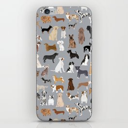 Mixed Dog lots of dogs dog lovers rescue dog art print pattern grey poodle shepherd akita corgi iPhone Skin