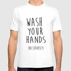 Wash Your Hands Bathroom Print Bathroom Decor Nursery Print Nursery Quote So Fresh And So Clean White MEDIUM Mens Fitted Tee