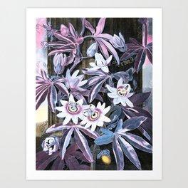 Temple of Flora Pastel Pink Blue Art Print