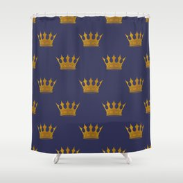 Royal Blue With Gold Crowns Shower Curtain