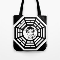 greg guillemin Tote Bags featuring Dharma and Greg by Matt