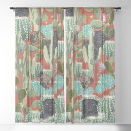 Cactus and Pugs Sheer Curtain