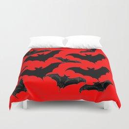 HALLOWEEN BATS ON BLOOD RED DESIGN Duvet Cover