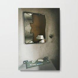 Shattered Bathroom Mirror Metal Print