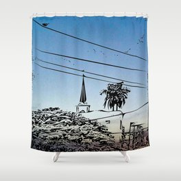 over smal trown the sunset Shower Curtain