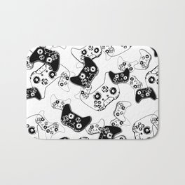 Video Game Black on White Bath Mat