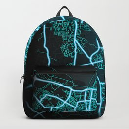 Grimsby, England, Blue, White, Neon, Glow, City, Map Backpack