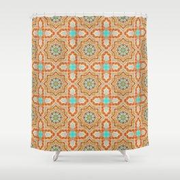 Orange kaleidoscope Star Shower Curtain