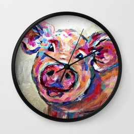 Happy Pig Art Wall Clock