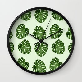 Palm Leaves, Leaf Pattern - Green  Wall Clock