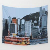 hong kong Wall Tapestries featuring Star Ferry Hong Kong by Phil Smyth