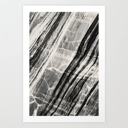 Abstract Marble - Black & Cream Art Print
