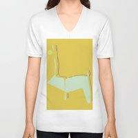 woodland V-neck T-shirts featuring Woodland by Michelle Soto