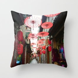 Asia in Red Throw Pillow