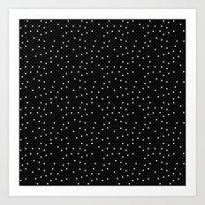 Pin Point Polka White on Black Repeat Art Print