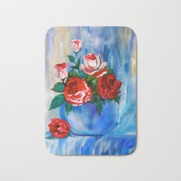 Red and White Roses Bath Mat