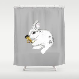 Some'bunny' Loves You (Single Bunny/Grey) Shower Curtain