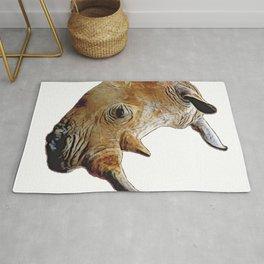 Rhino Face Rhinoceros Western Look Contraband Lifestyle Material Rug
