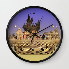 Golden Fractal Fantasy Castle Wall Clock