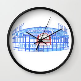 Wrigley Field Watercolor Wall Clock
