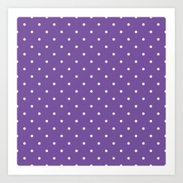 Small White Polka Dots with Purple Background Art Print