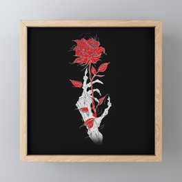 Rosa negra Fondo rojo esqueleto mano esqueleto ilustración arte diseño joik Framed Mini Art Print
