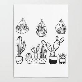 Cactus Garden Black and White Poster