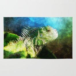 Blue And Green Iguana Profile Rug