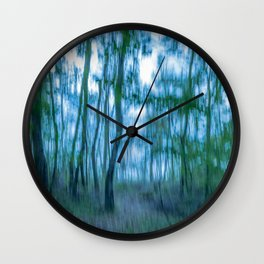 Intentional camera movement, forest, blue green version Wall Clock