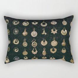 Gold Earrings in Safed Rectangular Pillow