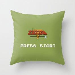Zelda press start Throw Pillow