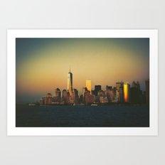 New York City Skyline - Dramatic Sunset Art Print