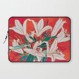 Blush Lily Bouquet on Orange Laptop Sleeve