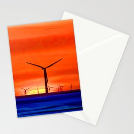 Windmills in the Sea Stationery Cards
