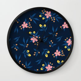 Pink Florals on Blue Wall Clock