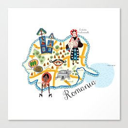 Romania Map Canvas Print