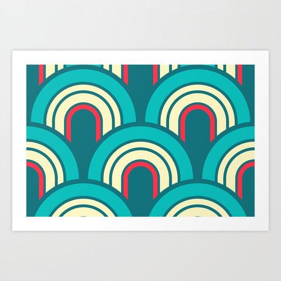 Retro Curves Art Print