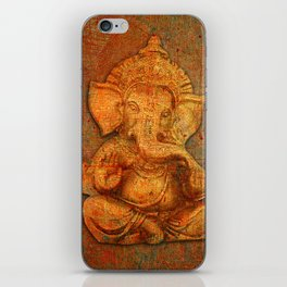 Lord Ganesh On a Distress Stone Background iPhone Skin