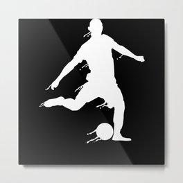Soccer Football Player Silhouette Metal Print