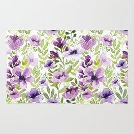 Watercolor/Ink Purple Floral Painting Rug
