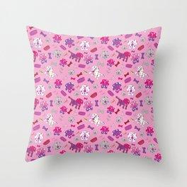 Pink, Purple, & Puppies Throw Pillow
